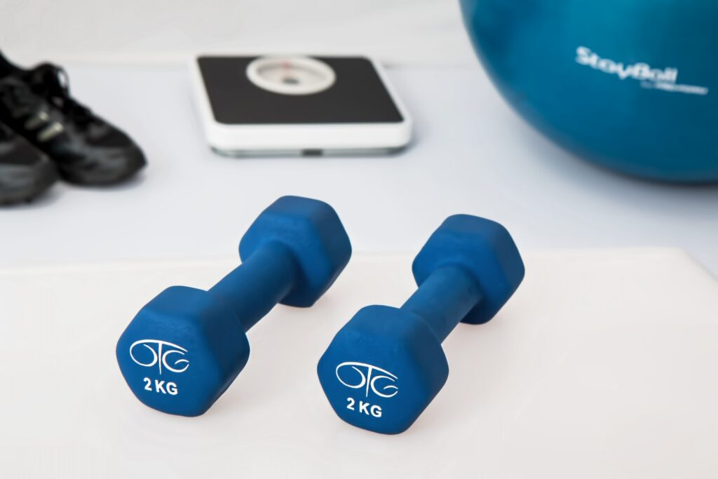 exercise equipment, including hand weights and exercise ball