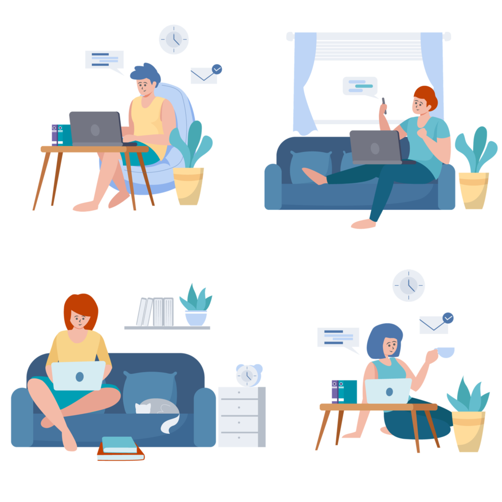 A drawing of four people working from home in different postures